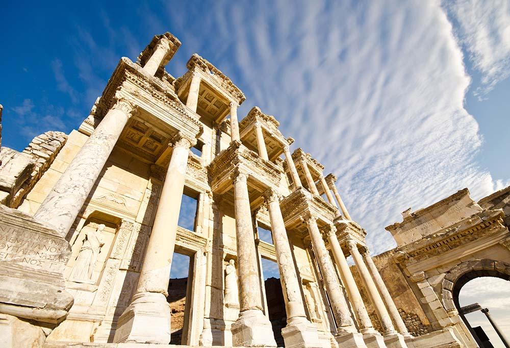 Trajan Temple columns in ancient city of Pergamon, Turkey.
