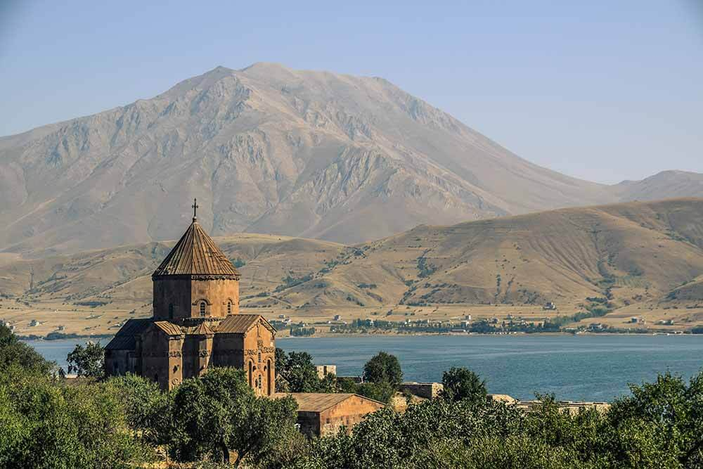 Armenian Cathedral Church of Holy Cross on Akdamar Island. Van Lake.
